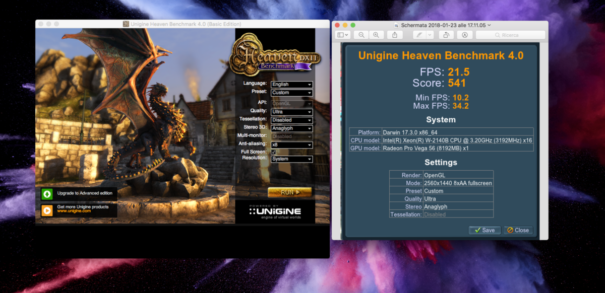 Recensione iMac Pro - Test Unigine Heaven Benchmark GPU