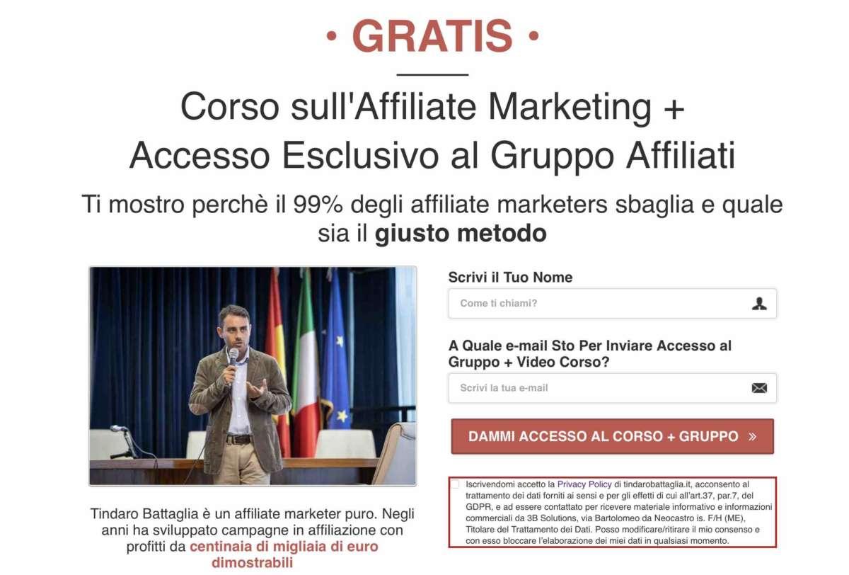 direct email marketing - optin page tindaro battaglia roibook