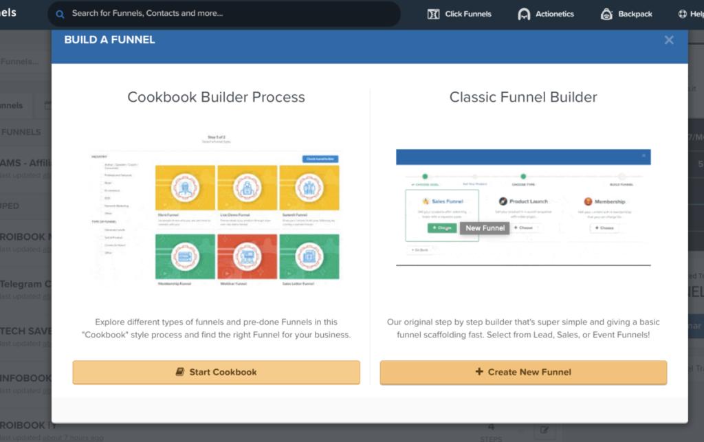 come creare un Funnel con clickfunnels - nuovo Funnel