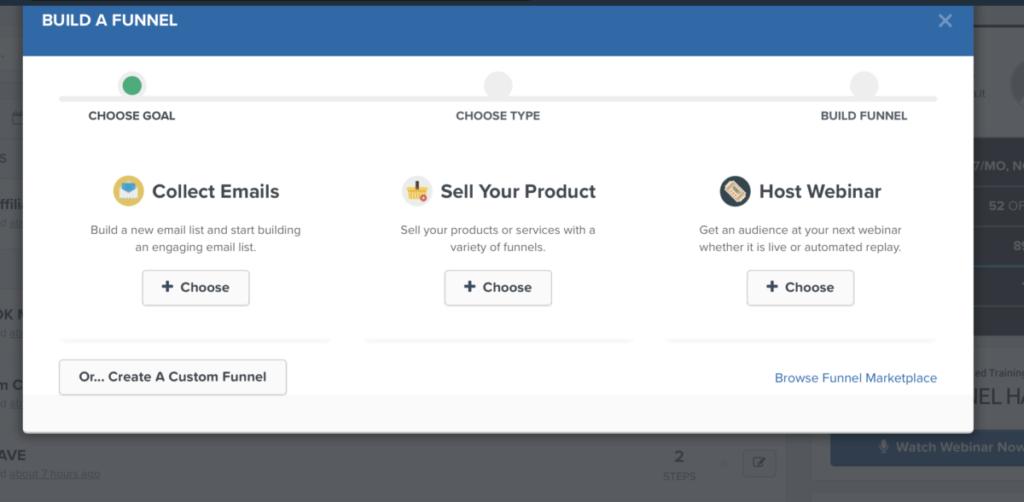 come creare un Funnel con clickfunnels - selezione obiettivo