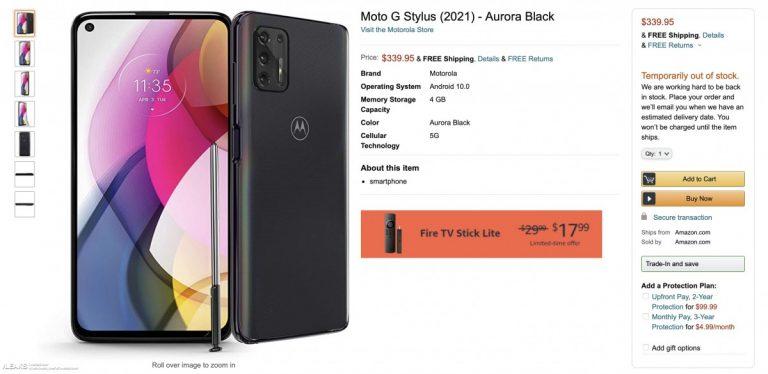 Motorola Moto G Stylus 2021 è apparso su Amazon: le vendite partiranno tra poco?