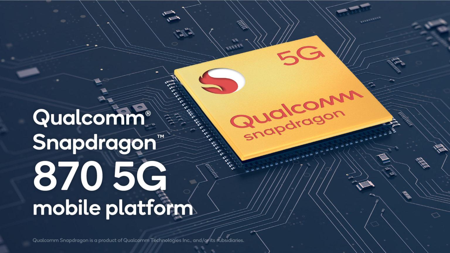 Qualcomm presenta lo Snapdragon 870 5G, nuova CPU di fascia alta